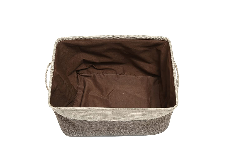 ScoutJump 3-Pack Foldable Storage Bin Basket Collapsible Cotton Canvas Jute Fabric Storage Bin Basket Set w//Handles for Home Office Closet