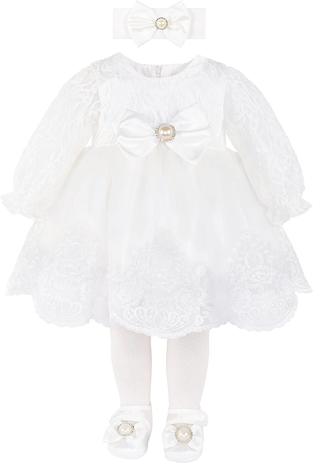 Taffy Baby Girl Newborn Christening Baptism Lace White Dress Gown 6 Piece Deluxe Set