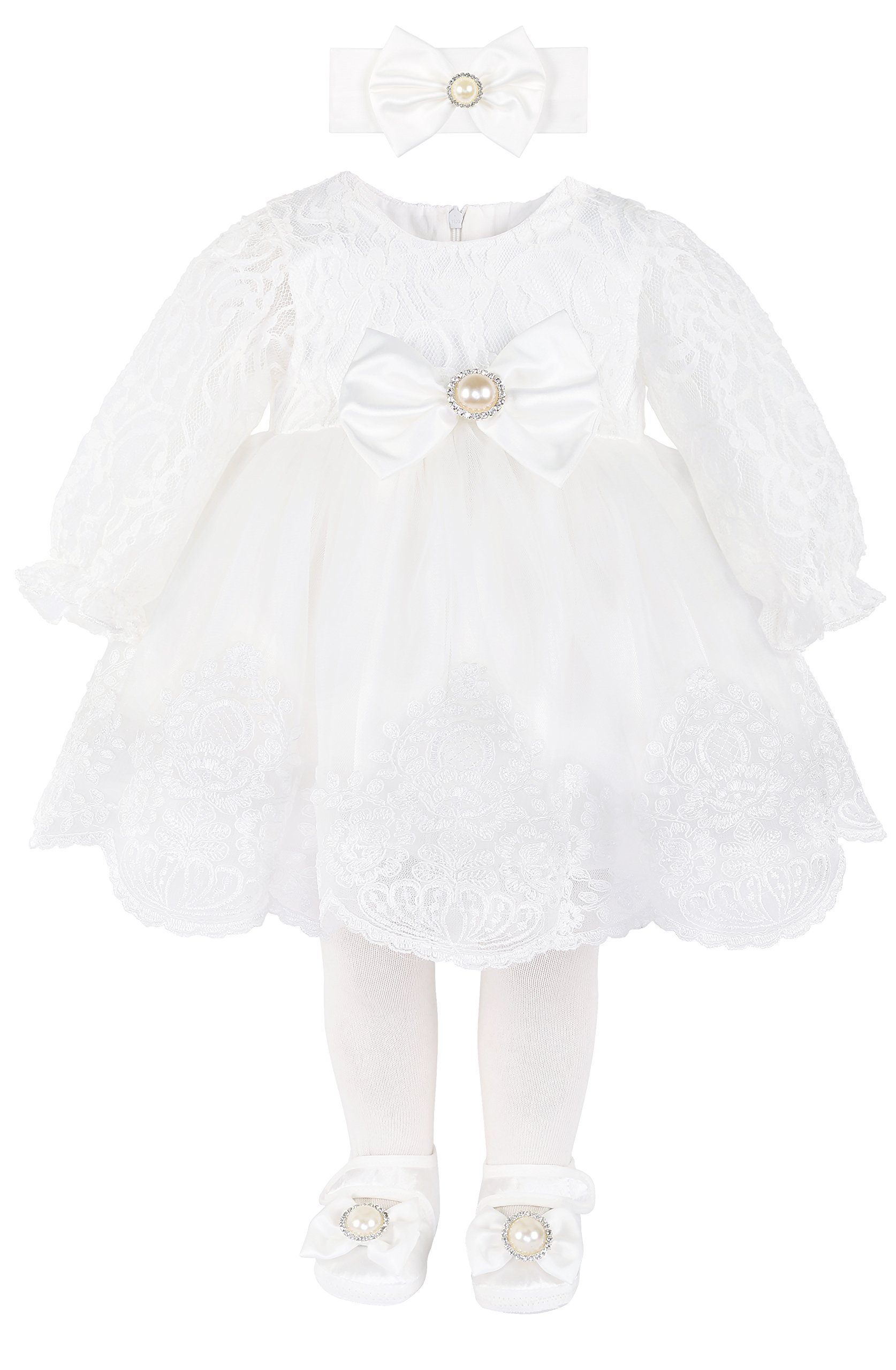 Taffy Baby Girl Newborn Christening Baptism Lace White Dress Gown 6 Piece Deluxe Set 3-6 Months by T.F. Taffy