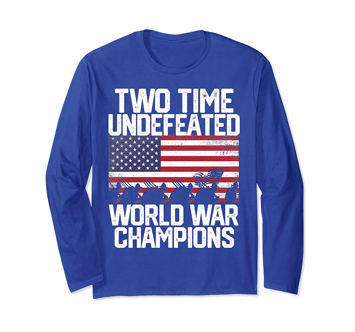 60b172d5 Undefeated Two 2 Time World War Champs Champions T Shirt USA-alottee gift