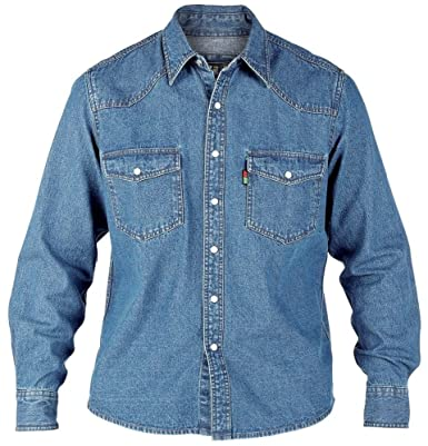 04bf4d84cd Duke London Mens King Size Denim Shirt Western Denim Stone-WASH Long Sleeve  Shirt S to 6XL  Amazon.co.uk  Clothing
