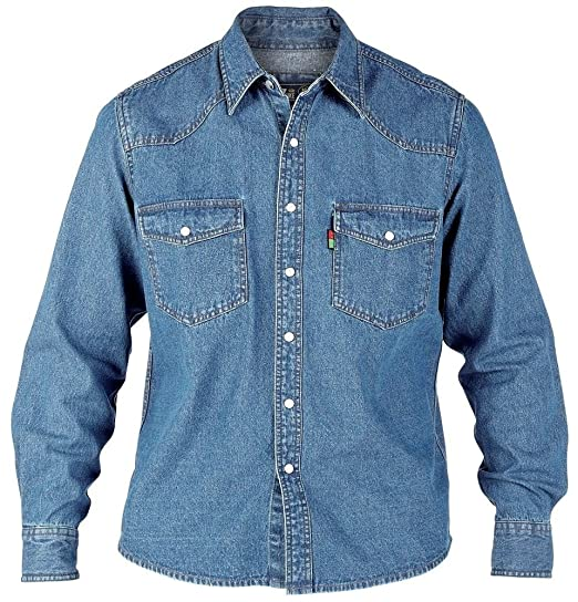 MENS KING SIZE DENIM SHIRT DUKE LONDON WESTERN DENIM STONE-WASH LONG SLEEVE  SHIRT S
