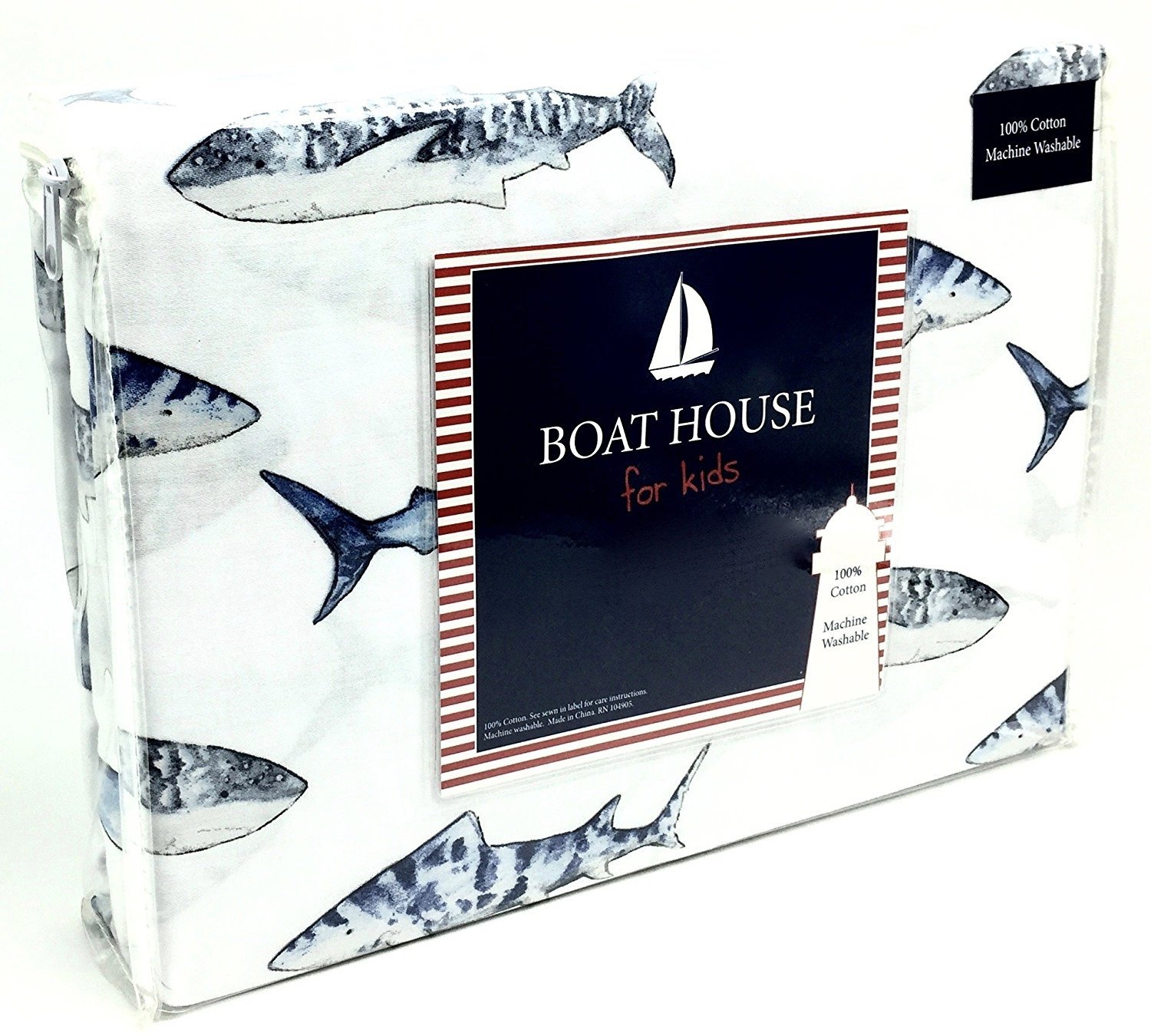 Boat House Shark School Children's All Cotton FULL Size 4-Piece Sheet Set