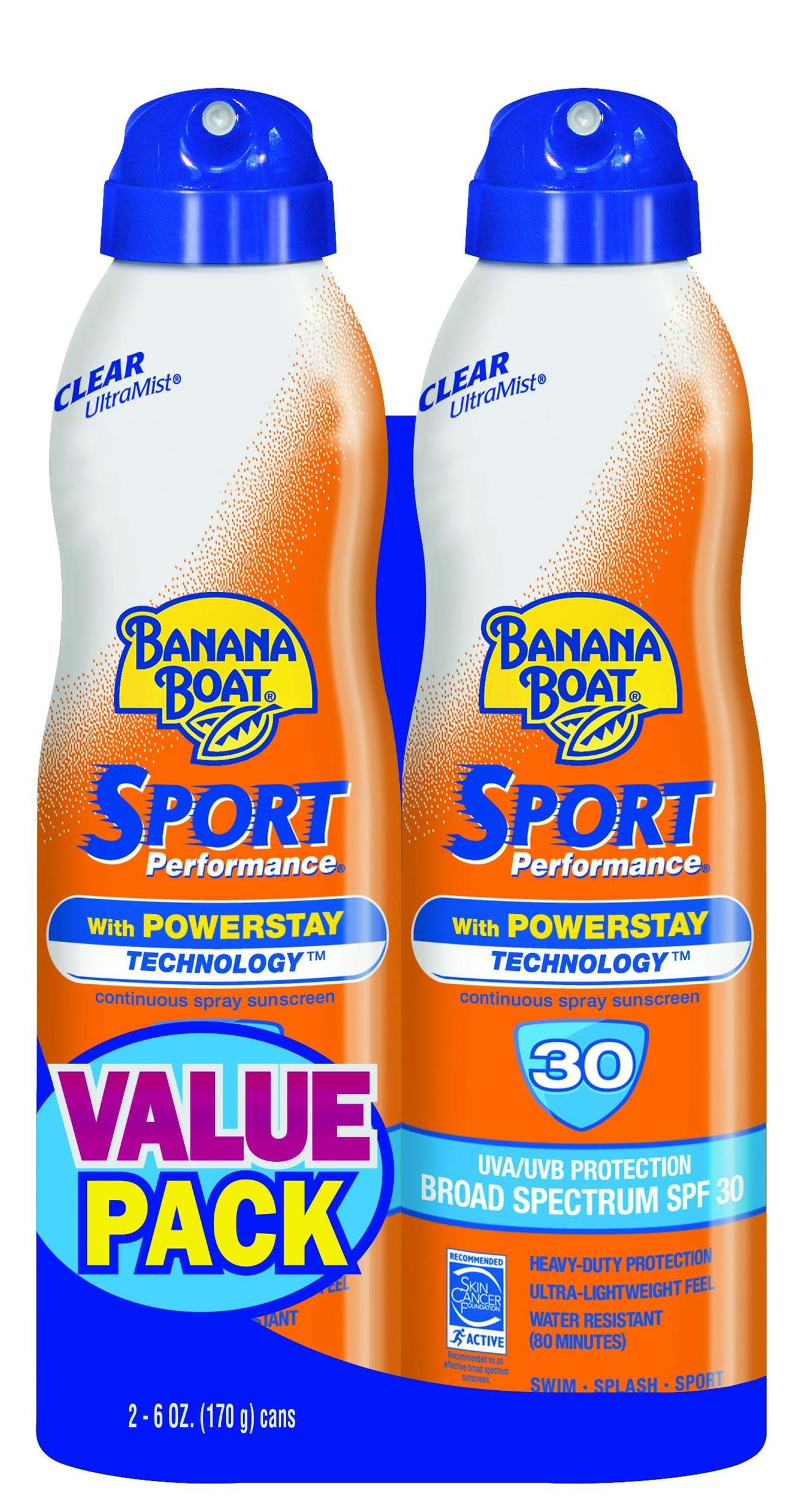 Banana Boat Sport Sunscreen Spray, SPF 30, Reef Safe, 6 ounces (Pack of 2)
