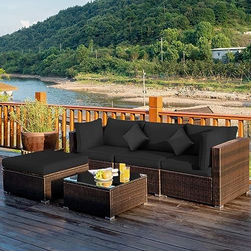 Tangkula 5 Piece Patio Rattan Furniture Set