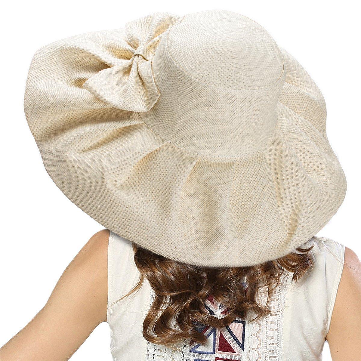 Linen Summer Womens Kentucky Derby Wide Brim Sun Hat Wedding Church Sea Beach A047 (Natural)
