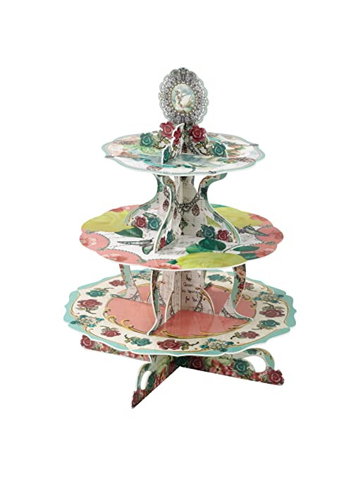 Talking Tables British Tea Party Vintage 3 Tier Cake Stand For A Tea Party Birthday Or Wedding Multicolor