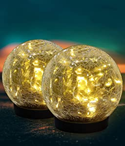 ELYXWORK Solar Lights Outdoor, 2 Pack Solar Powered LED Table Lamp Waterproof Cracked Glass Globe Ball Lights for Patio, Garden, Lawn, Yard, Outdoor/Indoor Decorations