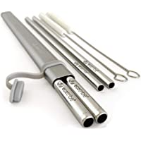 Stainless Steel Reusable Straw Set: 1 Grey Aluminium Case + 4 Metal Straws (21.5cm Long in 2 Widths) + 2 Cleaning Brushes. The Original, Eco-Friendly, Portable Travel Drinking Straw