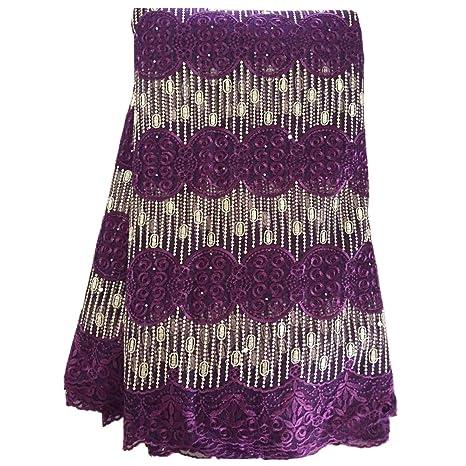 clovoice 5 yards africano telas de encaje bordado de tul encaje para fiesta boda