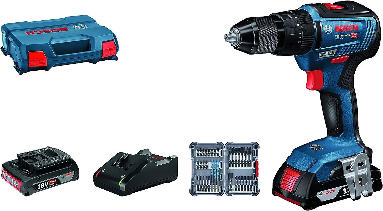 Bosch Professional GSB 18V-55 System Taladro percutor, par de torsión máximo 55 NM, Incl. 2 x 2.0 Ah batería + Cargador, 35 pcs. Juego de Accesorios de Impacto, en L-Case, Amazon Edición, 18 V, Azul
