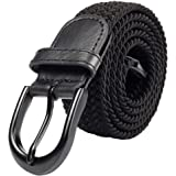 Braided Stretch Elastic Belts | Pin Oval Solid Black Belt Buckle | PU Loop End Tip Men/Women/Junior (7 Sizes 27 Colors )