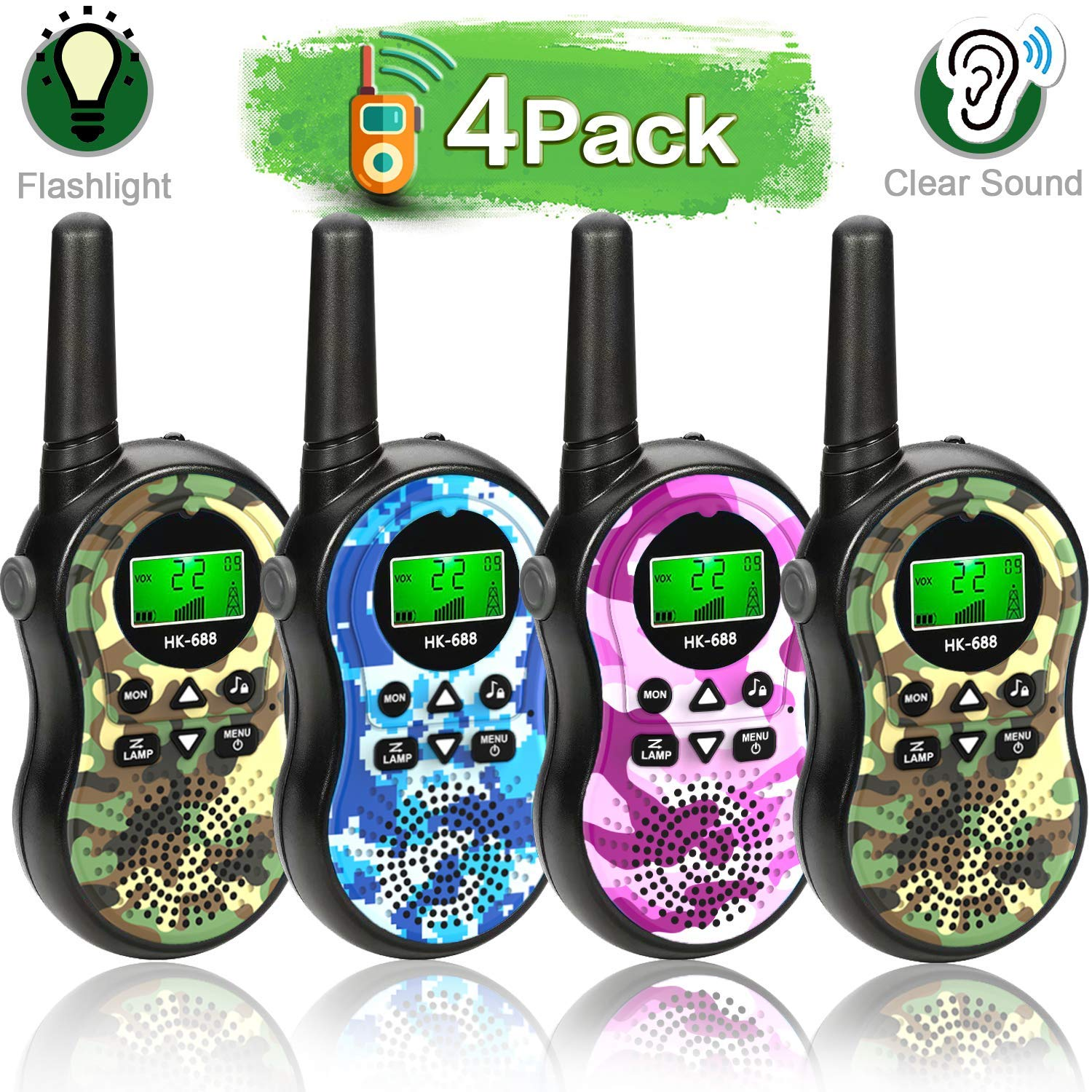 4 Pack Walkie Talkies for Kids Outdoor Toys 22 Channels 2 Way Radio Long Range Handheld Walkie Talkies with LCD Flashlight Boys Girls Outdoor Adventure Game Camping Hiking Fun Gift(Packaging may vary) by Camlinbo (Image #1)