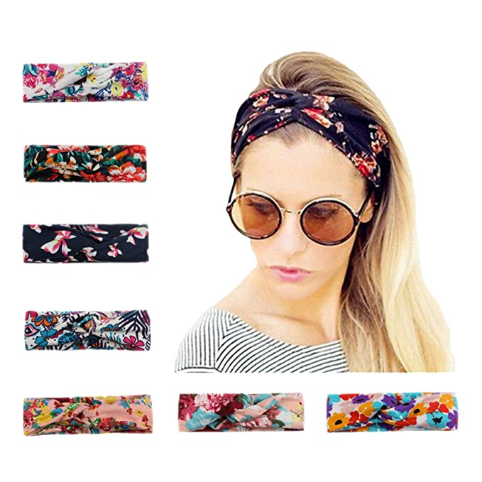 Calliar Womens Fashion Flower Bow Head Wrap Headbands Elastic Hair Band 7e624b66246
