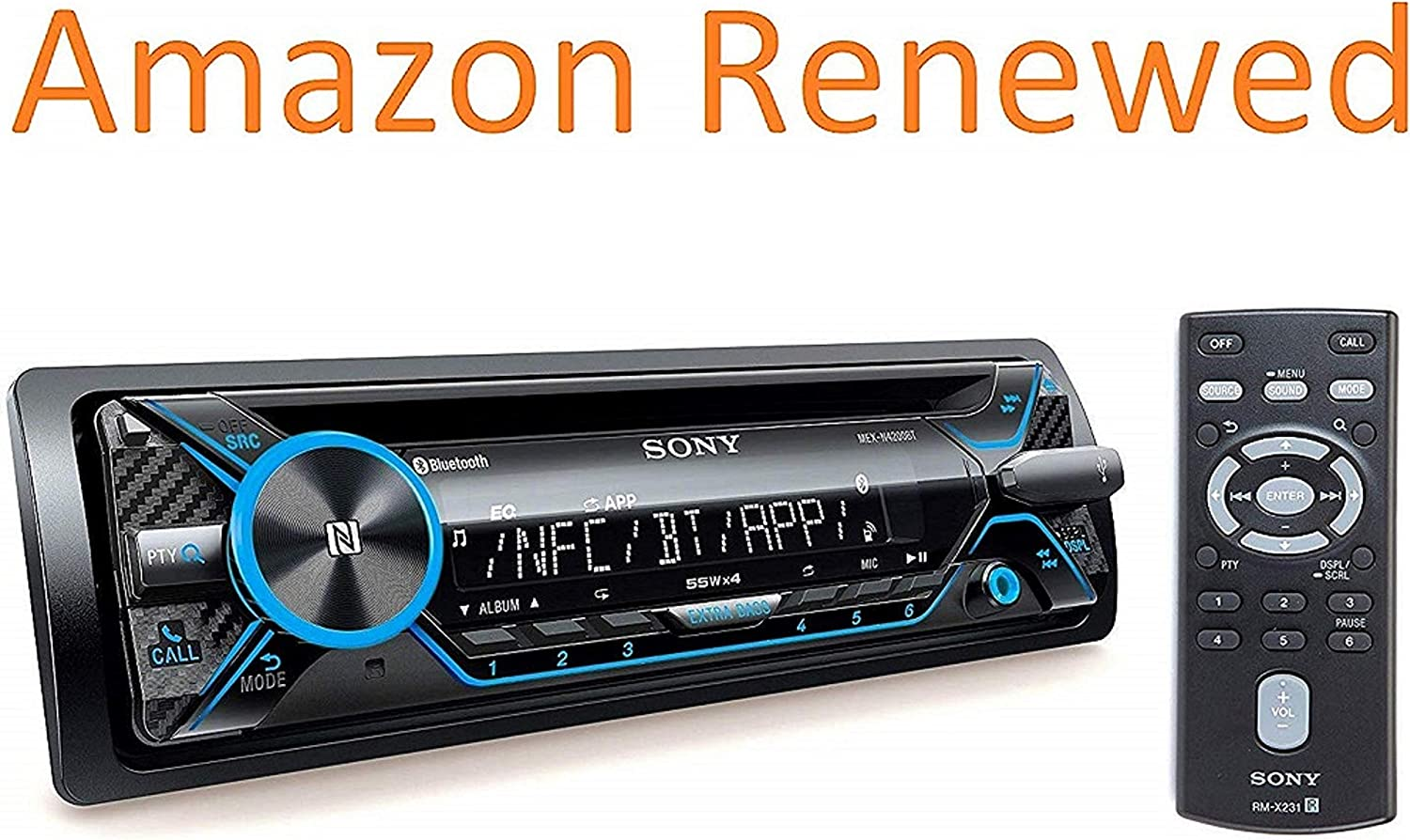 Sony MEX-N4200BT Single-Din in-Dash Built-in Bluetooth CD / MP3, AM/FM Front USB, Auxiliary, Pandora, Spotify, iHeartRadio, iPod / iPhone and Android Controls Car Stereo Receiver (Renewed)