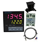 Inkbird F Display PID Temperature Controllers Thermostat ITC-106VH, K Sensor, Heat Sink and Solid State Relay, 100ACV - 240ACV (ITC-106VH + 40A SSR + Black heat sink + K Probe)