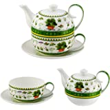 4 piceces Jameson & Tailor teapot set - tea for one Design: Herbages - with lid,cup and saucer diamond porcelain 4339