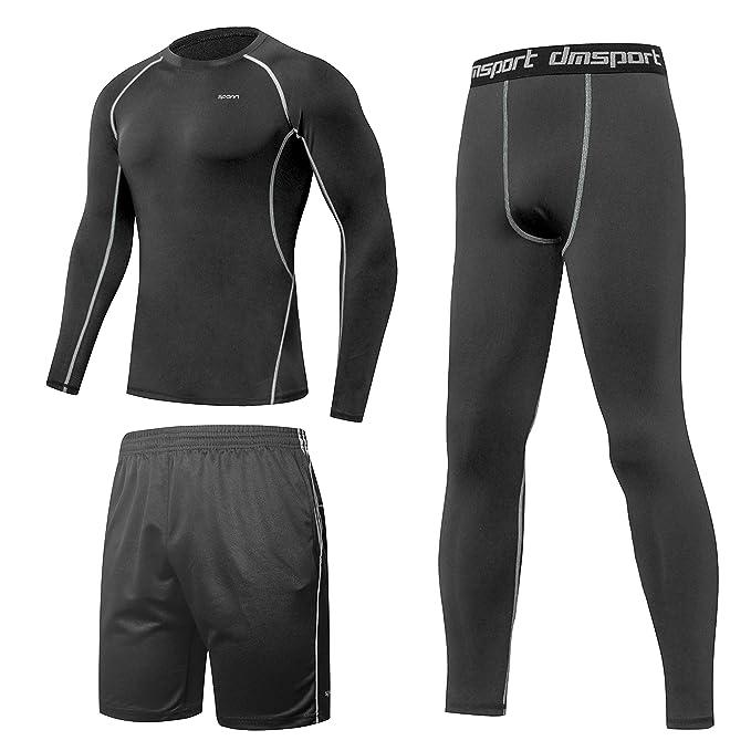 SPARIN Ropa Deportiva Hombre Trinidad [la Camiseta con Mangas Largas + Pantalón Corto + Leggings
