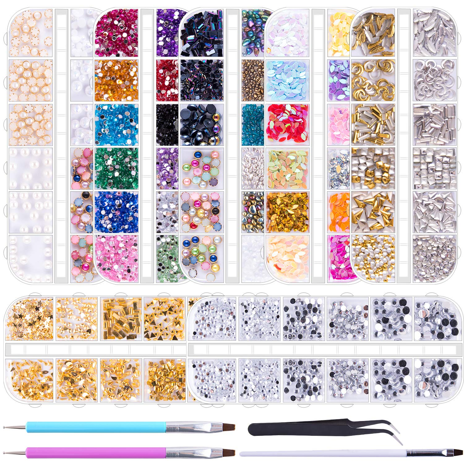 Review for Duufin 10014 Pcs Nail Art Rhinestones Nail Crystal Gems Nail Jewels Nail Diamonds with 1 Pc Pick Up Tweezers 1 Pc Brush Pen and 2 Pcs Wax Pens for Nail Art Supplies