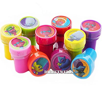 Trolls Dreamworks Character Authentic Licensed 10 Assorted Stampers Party Favors Goodie Bags Filler: Toys & Games [5Bkhe1002125]