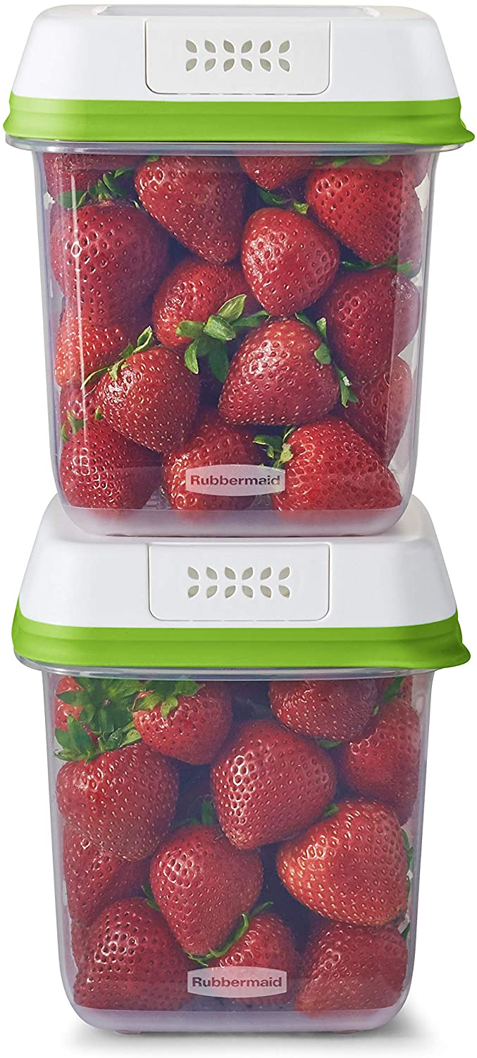 Rubbermaid FreshWorks Saver, Medium Produce Storage Containers, 2-Pack, 7.2 Cup, Clear