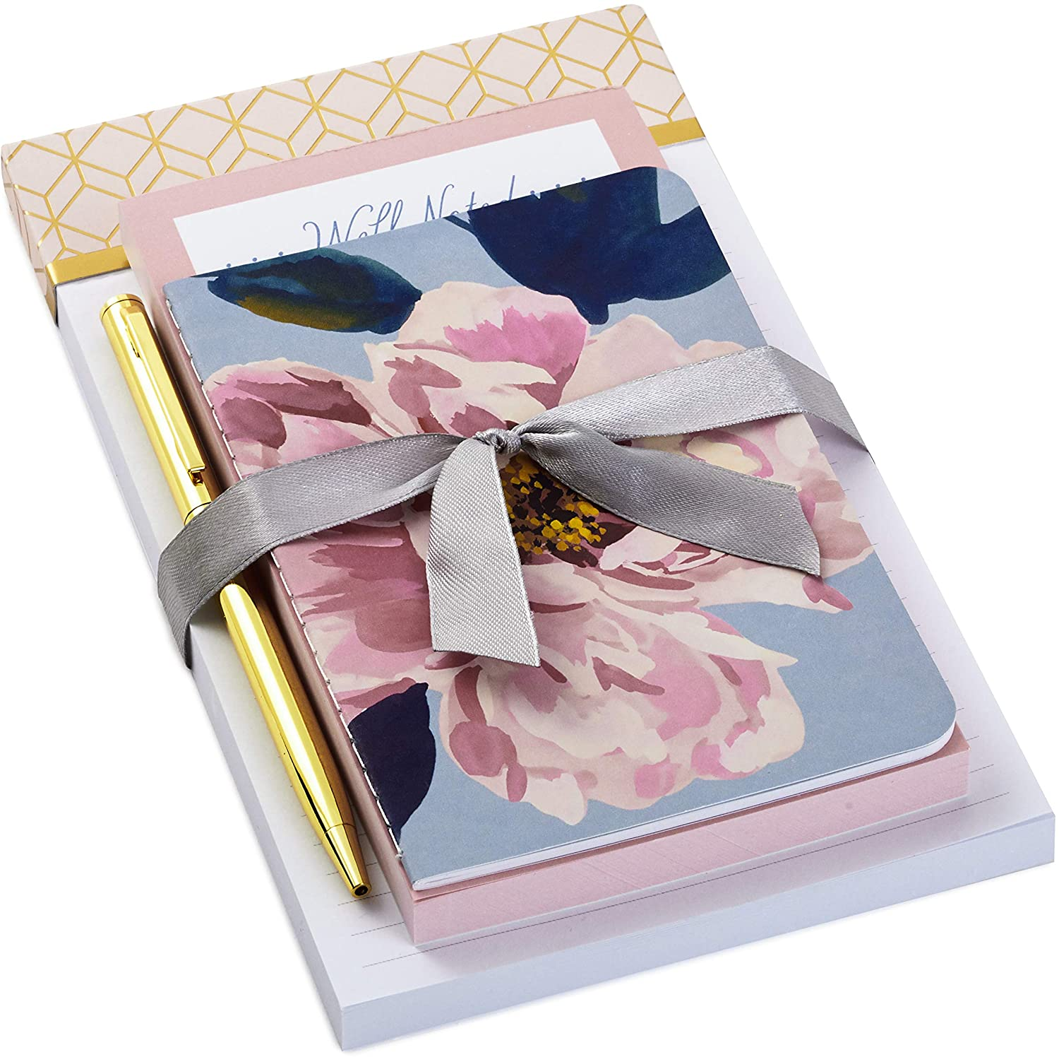 Hallmark Notepad Bundle with Pen, Pretty Pinks (3 Notepads in Assorted Sizes with Gold Pen)