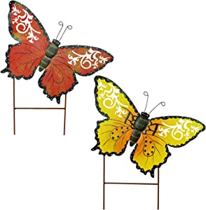 E-view Metal Butterfly Garden Stakes - Spring Decorative Yard Signs - Indoor Outdoor Plant Flower Stake Lawn Ornaments Butterfly Decoration (Red + Yellow)