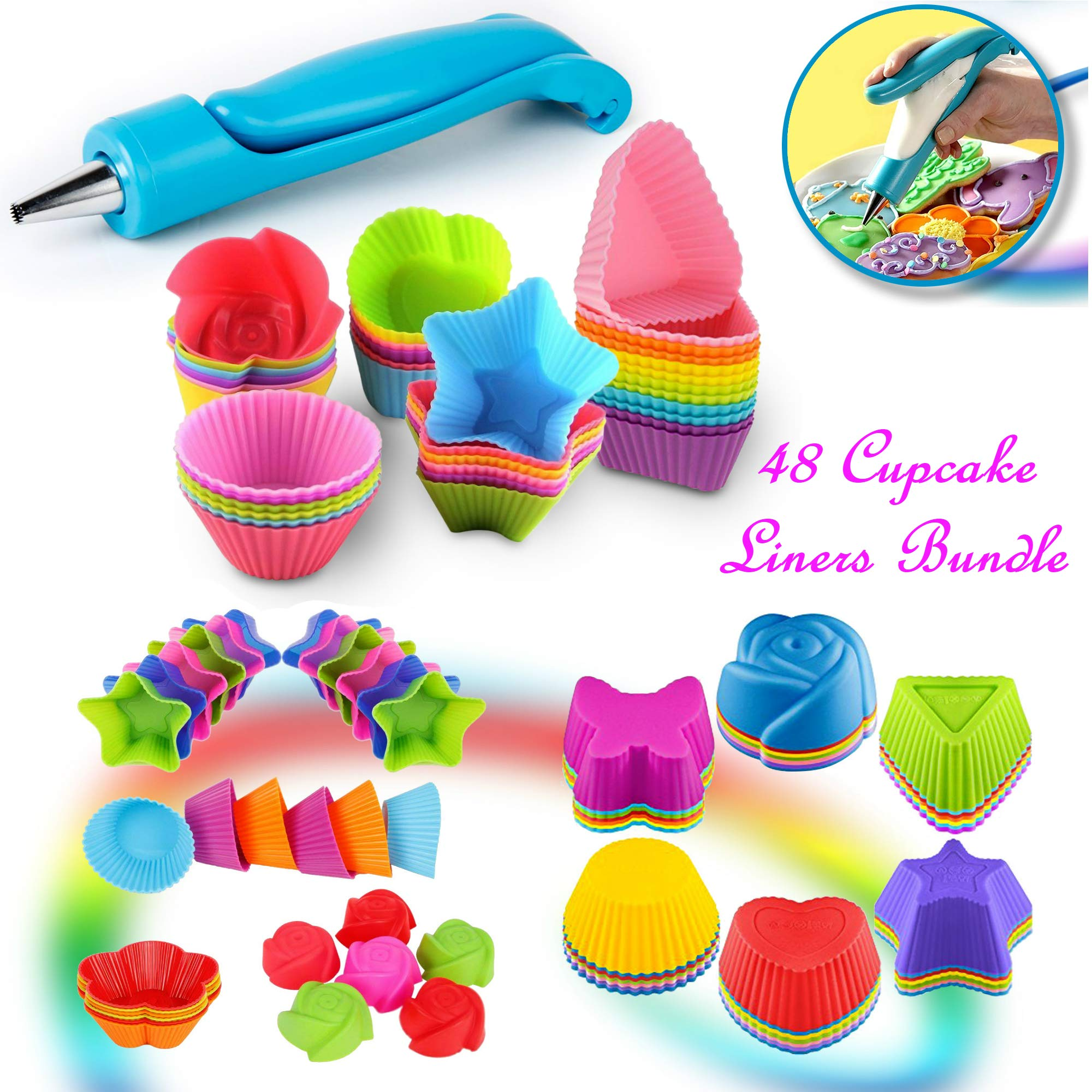 Cupcake Baking Cup Molds Bundle Easy Clean Pastry Liners 48 Nonstick Reusable Silicone Muffin Molds with Icing Pen Cupcake & Cake Decorating Pen Set by Kitchen Krush (Image #1)