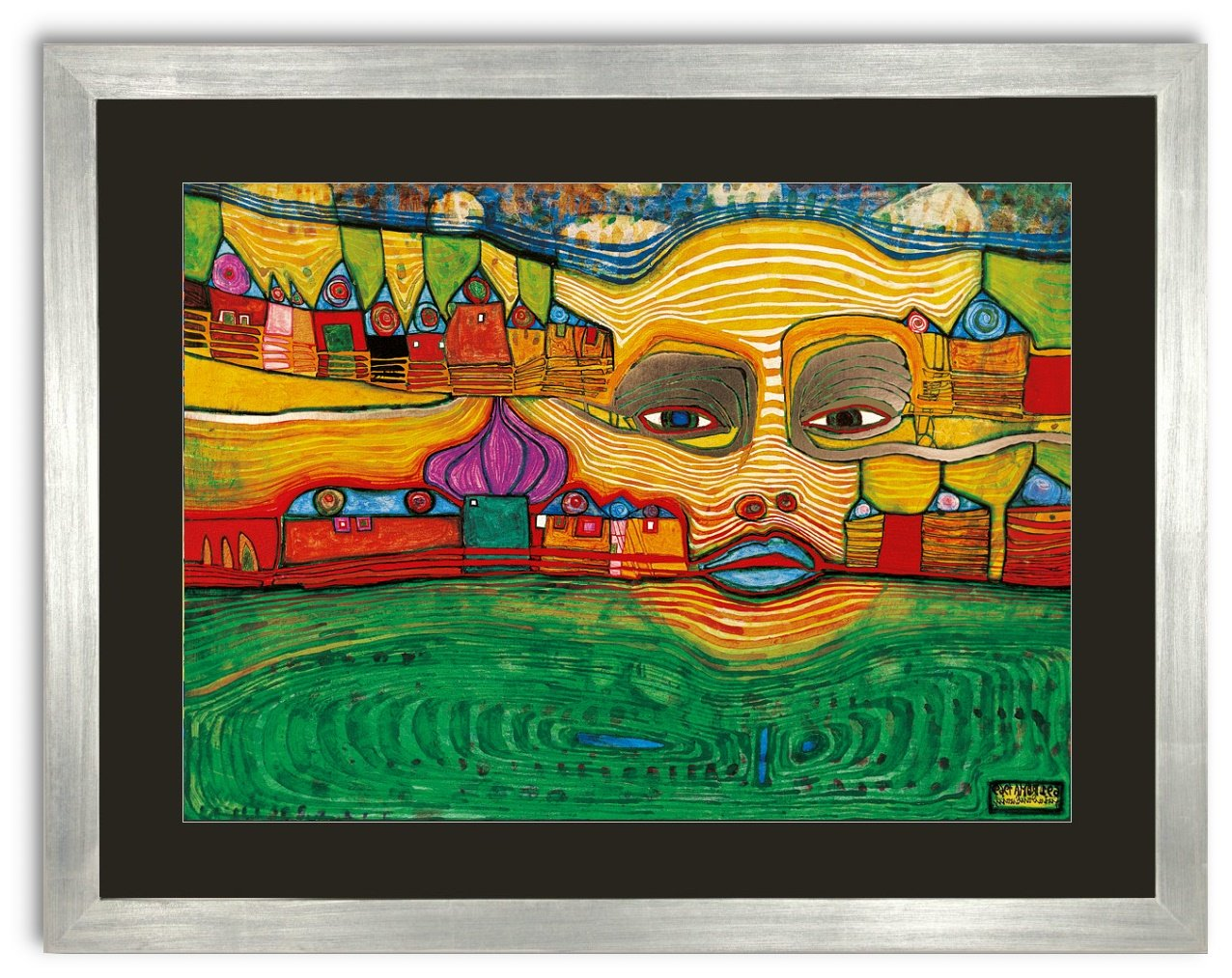Kunstdruck Bild Hundertwasser IRINALAND ÜBER DEM DEM DEM BALKAN 75 x 59 cm Galeriebild mit Blattsilber Rahmen ++ SALE ++ 2d2d79