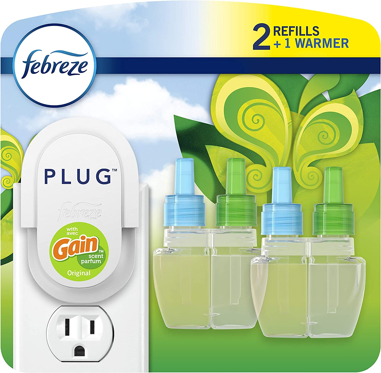 Febreze Odor-eliminating Plug Air Freshener, Gain Original, 1 Warmer + 2 Oil Refills