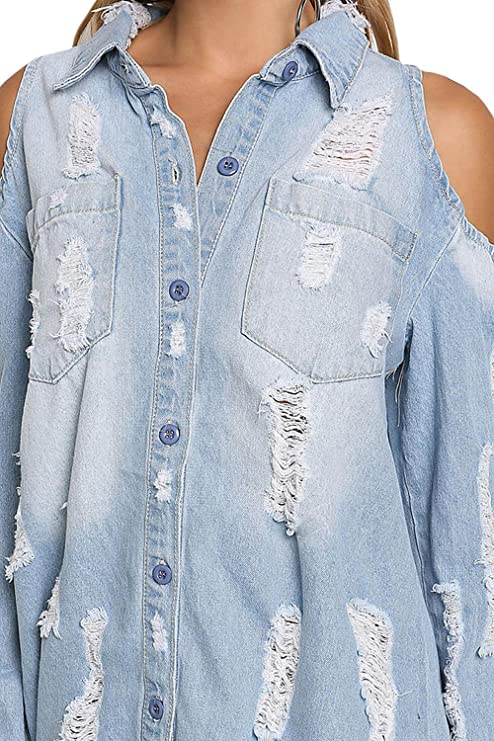 325ed4a28b Meilidress Womens Cold Shoulder Distressed Demin Shirt Dresses Button Down  Long Sleeve Frayed Jeans Jacket at Amazon Women s Clothing store