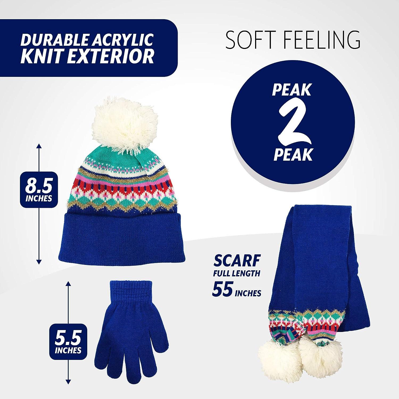 PEAK 2 PEAK Girls and Boys 3 Piece Beanie Hat Scarf and Glove Matching Set 4015