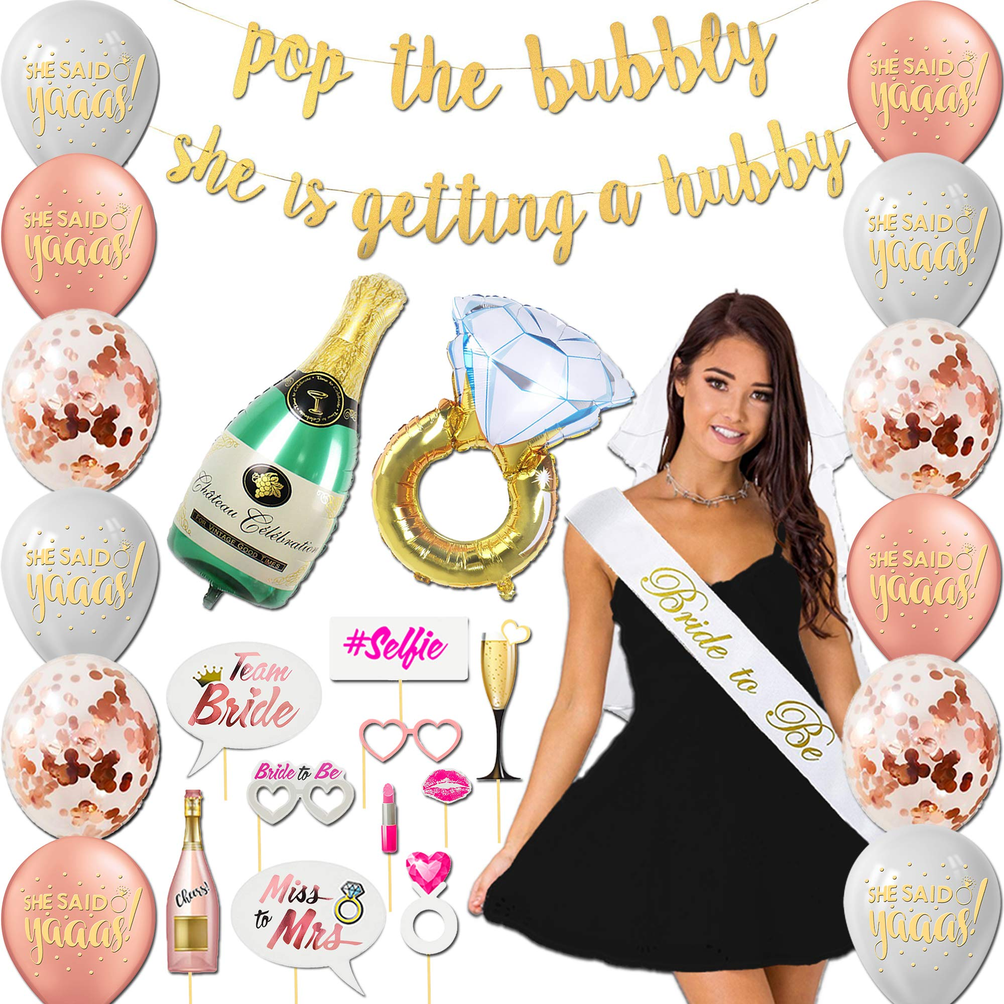 Golden Shop Bachelorette Party Decorations Kit | Bridal Shower Supplies - Bride to Be Sash,Veil, Ring Foil Balloon, Champagne Bottle Foil Balloon, 2 Gold banners,10 Photo Booth Props,12 Latex Balloons