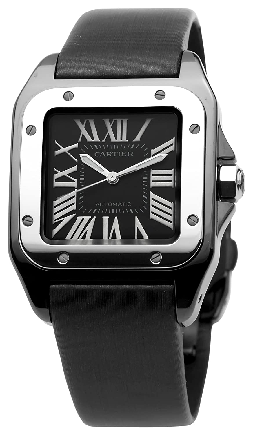 santos watch amazon watches cartier automatic com midsize dp leather