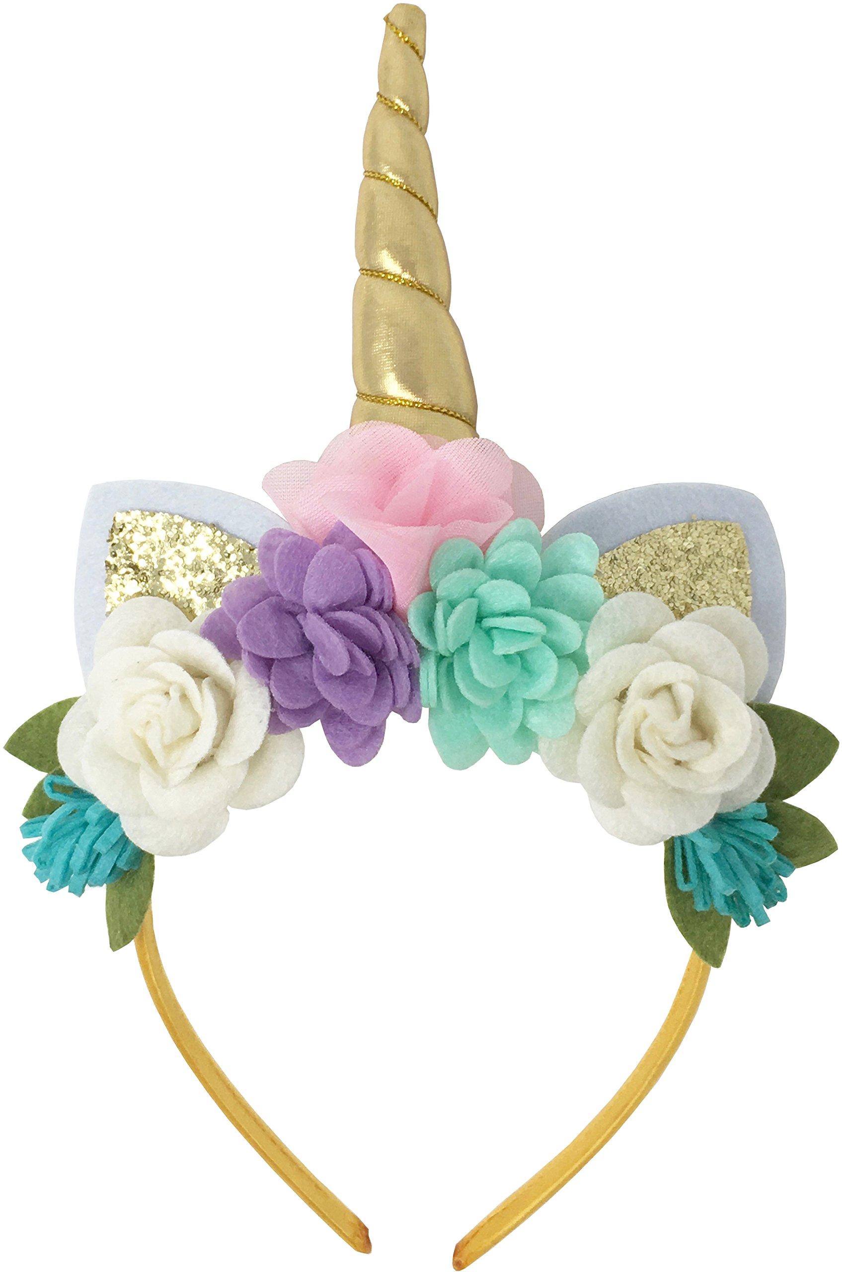 Posh Peanut Unicorn Childrens Party Hat Horn Glitter Hard Headband Spiral Unicorn Horn Photo Props Cosplay (Pink, Purple , Teal)