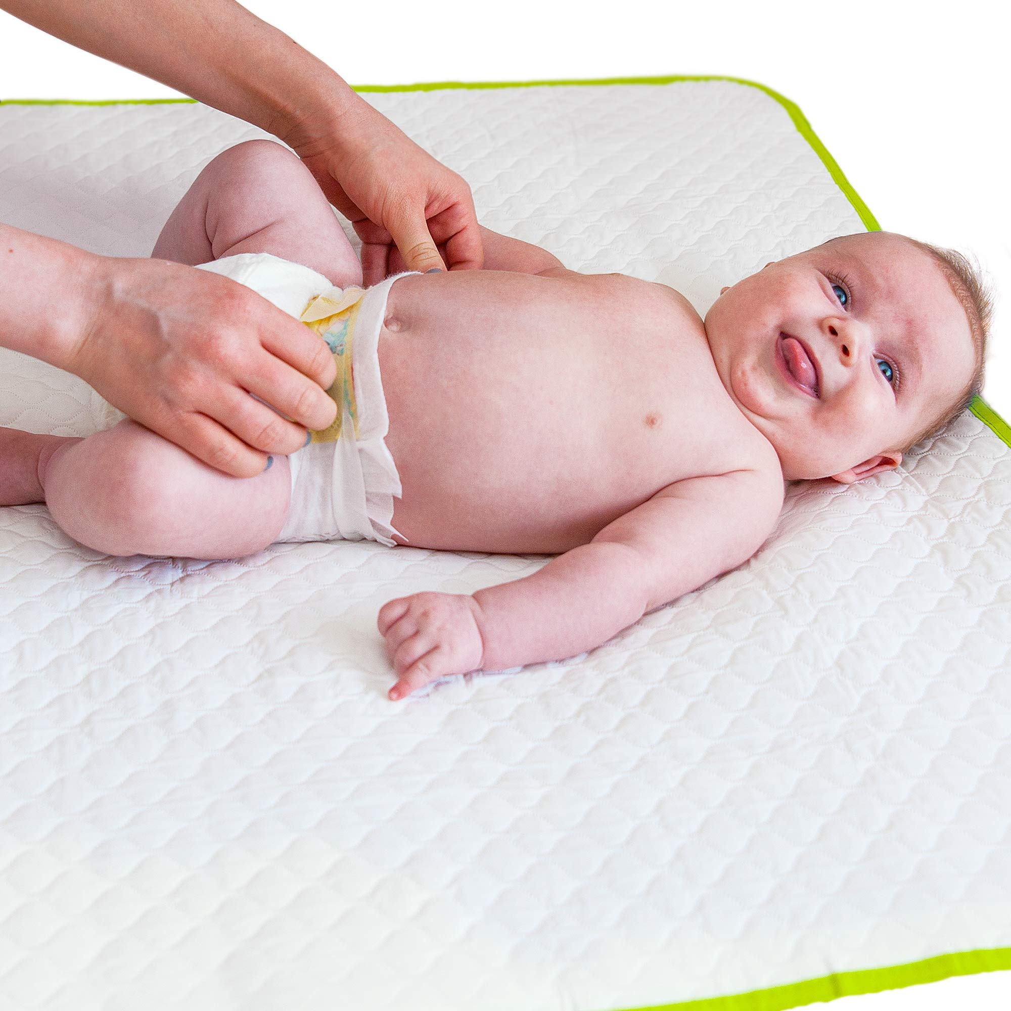 Changing Pad Portable - Biggest Reusable Changing Mat - Large Size - Comfortable Diaper Change Mat White Color Reinforced Seams - Free Multi-Function Storage Bag by BABY LOOVI