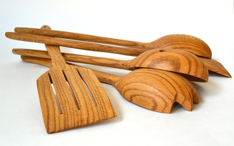 Grazioso set di utensili da cucina in legno Set di 5 utensili da cucina Oak Wood Set di utensili