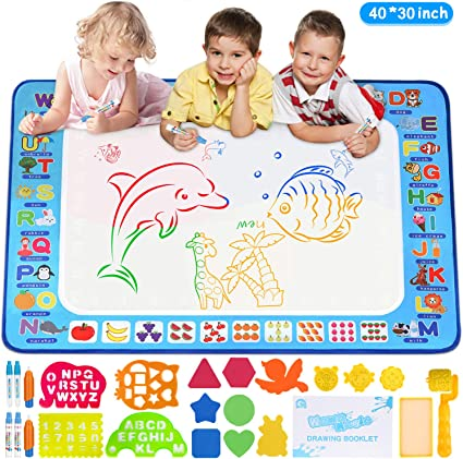 Amazon Com Adsoner Water Magic Mat Aqua Drawing Magic Mat Water Painting Doodle Mat With 6 Magic Pens Developmental Educational Toys For Toddlers Kids 40 X 30 Inches Toys Games