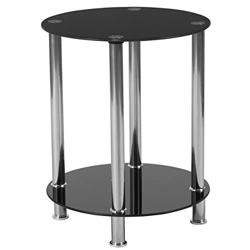 Flash Furniture Riverside Collection Black Glass End Table with Shelves and Stainless Steel Frame, HG-112348-GG
