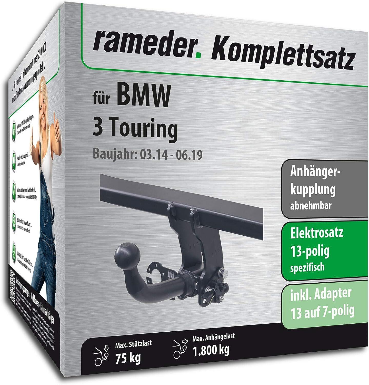 13pol Elektrik f/ür BMW 3 Touring Anh/ängerkupplung abnehmbar 142630-10266-1 Rameder Komplettsatz