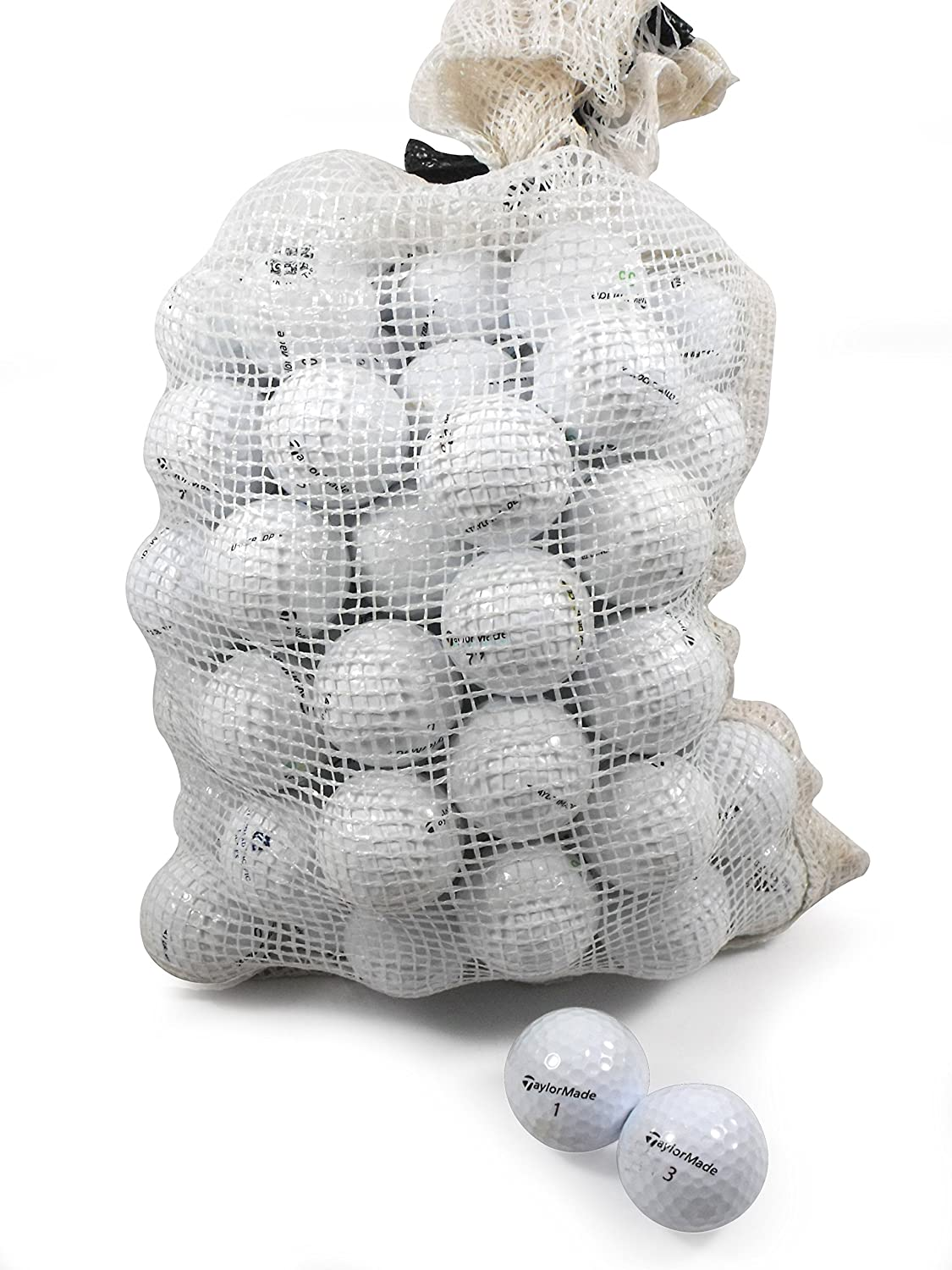 Recycled Used Golf Balls Cleaned - Taylormade B/C Grade Golf Balls 72 Balls Assorted Models in Onion Mesh Bag