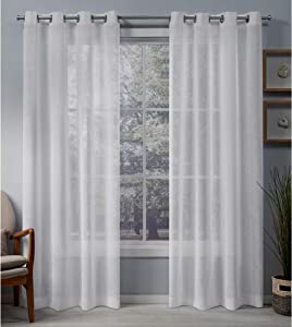 Exclusive Home Curtains Belgian Textured Linen Look Jacquard Sheer Grommet Top Curtain Panel Pair, 50x108, White