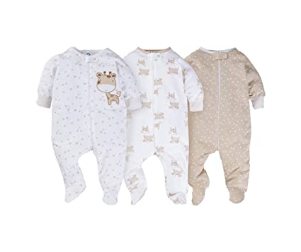 Gerber Onesies Baby Boy Sleep N Play Sleepers 3 Pack (Newborn, Giraffe)