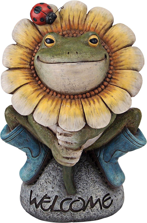 Design Toscano HF300725 Flowery Frog Garden Welcome Statue, Full Color