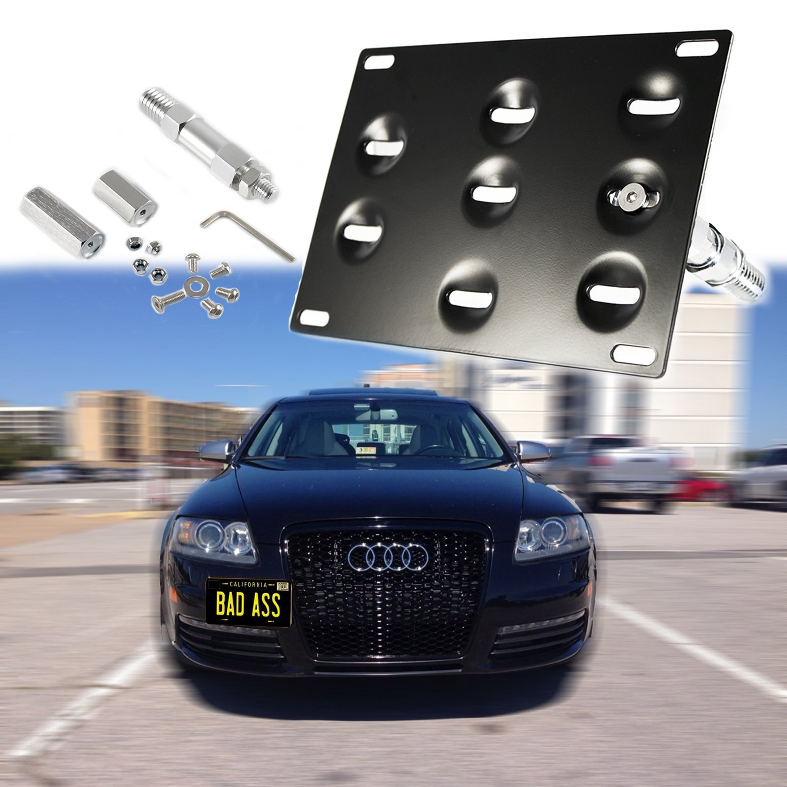1 Set Front Tow Hook License Plate Bumper Mounting Bracket Fit Audi A4 A5 S4 S5 RS5 RS7 A7 S7 A3 [black]