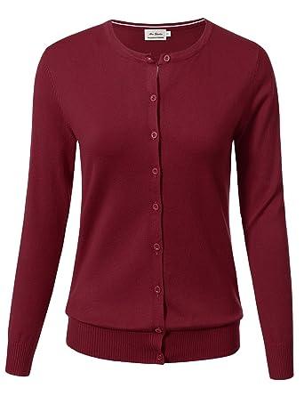bb3772b759 Women Button Down Long Sleeve Crewneck Soft Knit Cardigan Sweater S Burgundy