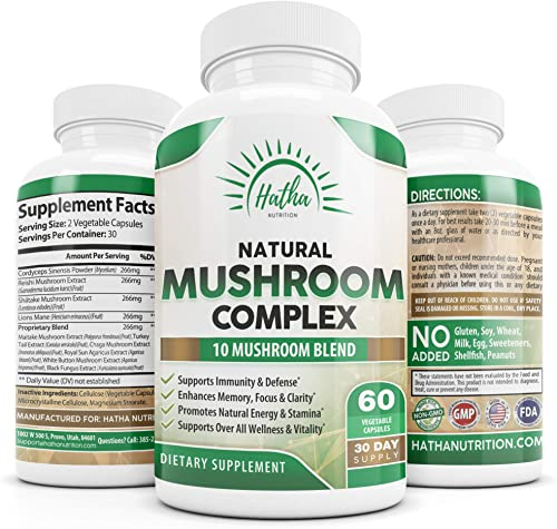 Natural Mushroom Complex Supplement – 10 Organic Mushrooms For Immunity Defense and Nootropic Brain Support – Lions Mane, Cordyceps, Turkey Tail, Chaga, Shiitake, Maitake, Reishi – 60 Capsules