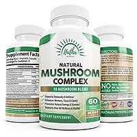 10 Organic Mushrooms For Immunity Defense and Nootropic Brain Support - Lions Mane, Cordyceps, Turkey Tail, Chaga, Shiitake, Maitake, Reishi - 60 Capsules