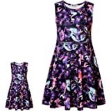 """Girls&Doll Matching Dresses Sleeveless Unicorn Clothes Outfits Fits 18"""" Dolls"""