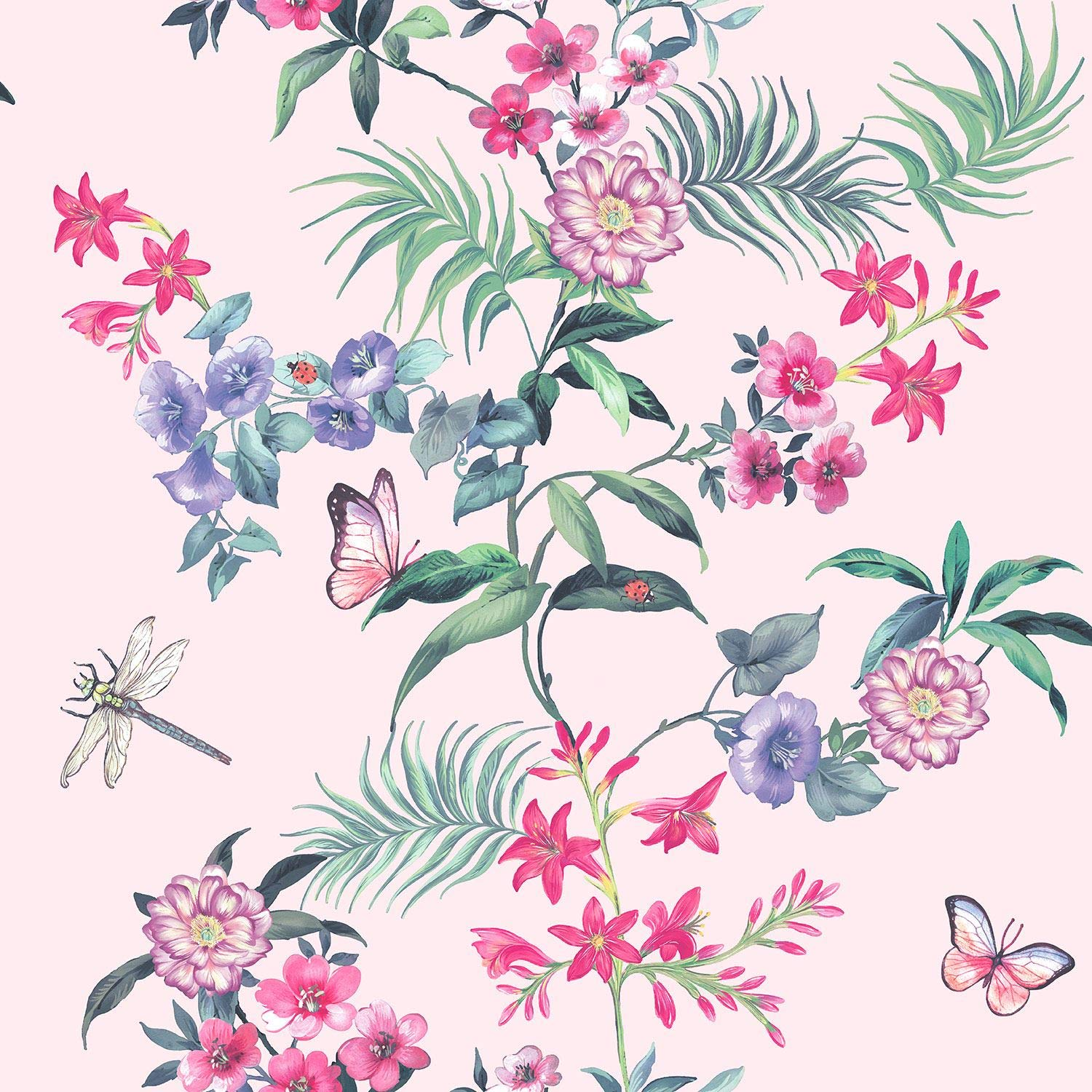 Tropical Floral Pink Wallpaper Flowers Butterfly Dragonfly